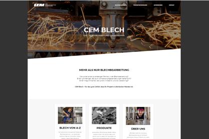 Referenzen Websites: Text und inhaltliches Konzept der neuen Website CEM-Blech, Spezialist für die Blechbearbeitung